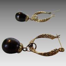 14 Karat Yellow Gold Hoop Earrings With Removable 14 Karat Tahitian Pearl Bobs
