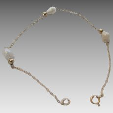 14 Karat  Petite Bracelet With Baroque Freshwater Cultured Pearls