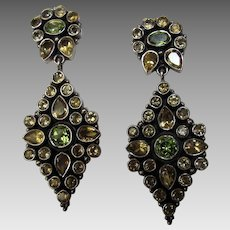 Sterling Silver Bejeweled Pierced Earrings With Smokey Quartz and Peridot