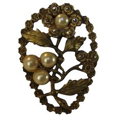 Vintage Goldtone Clip with Faux Pearls and Marcasite Accents in Floral Theme