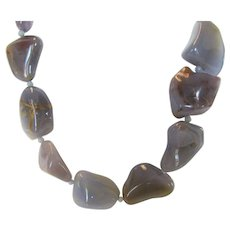 Artisan Natural One Of A Kind Natural Chalcedony Chunky Necklace With Sterling Silver Clasp