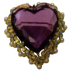 Vintage Art Heart Pin with Large Purple Crystal Center With Faux Pearl and Faux Turquoise Accents