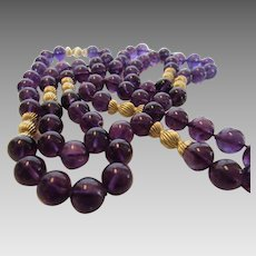 Amethyst Necklace With 14 Karat Yellow Gold Clasp and Spacer Beads