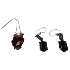 Vintage Upcycled Sterling Silver Deco Marcasite Pendant and Wire Earrings With Carnelian Glass Accents