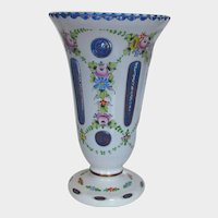 European Art Glass White to Blue Cut With Hand Painted Flower Decoration