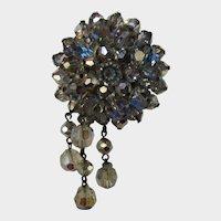 Vintage Blue Aurora Borealis Drop Pin With Trumpet Clasp Closure