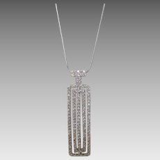 Sterling Silver Pendant With CZs Pave Set on a Sterling Silver Chain
