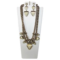 Vintage Chunky Bold Goldtone Necklace and Matching Pierced Earrings