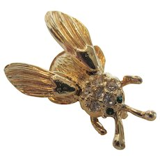 Vintage Goldtone Tremblant Fly Pin With Pave Crystal Accents