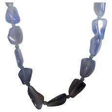 O.O.A.K. Gem Quality Natural Chalcedony In Smokey Blue With Sterling Silver Clasp