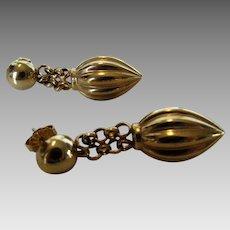 14 Karat Yellow Gold Bold But Lightweight Pierced Earrings Dangling