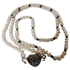 Cultured Pearl Necklace With Sterling Onyx Clasp with Green Labradorite Bead Spacers