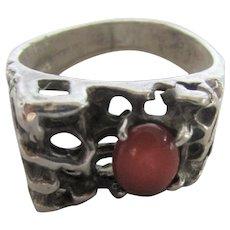 Sterling Silver Carnelian Unisex Ring in Organic Setting