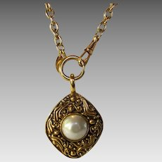 Chanel Goldtone Necklace With Faux Pearl Pendant