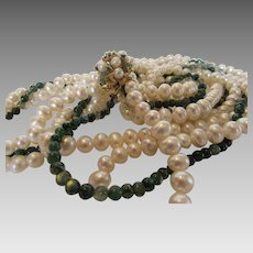 Cultured Pearl  and Labradorite Triple Strand Necklace With 14 Karat Yellow Gold Jeweled Clasp