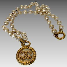 Chanel Logo Necklace in Goldtone and Faux Pearls