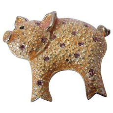 """Vintage Danecraft """"Pretty in Pink"""" Pig Pin Enamelled with Pink Crystal Accents"""