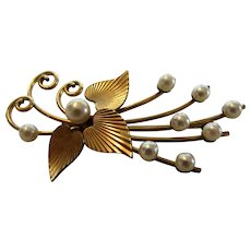 Vintage Kremetz Goldtone Pin with Cultured Pearls in Floral Design