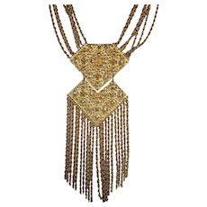 Vintage Statement Goldtone Filagree Necklace