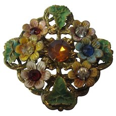 Vintage Early Enamelled and Bejewelled Brass Pin With Faux Citrine Center Stone