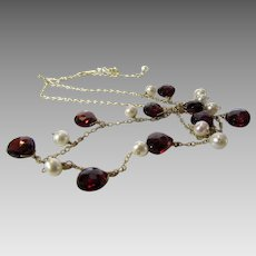 14 Karat Yellow Gold Necklace With Garnet Drops and Cultured Pearls