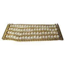 Chanel Bracelet With Goldtone Chains and Faux Pearls