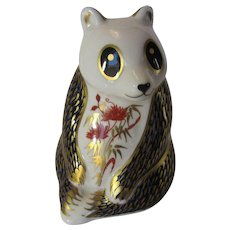 Royal Crown Derby Panda Paperweight  White Background With Red, Gold and Blue Coloring