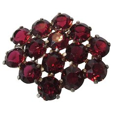 Vintage Unbacked Faux Ruby Crystals Pin