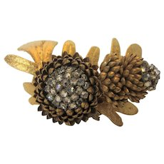 Miriam Haskell Russian Goldtone Acorn and Leaves Pin