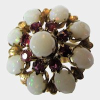 18 Karat Yellow Gold Opal and Ruby Dome Ring