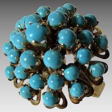 18 Karat Yellow Gold Turquoise Dome Ring