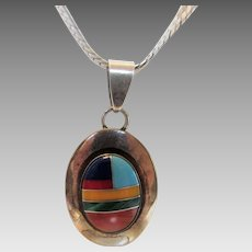 Sterling Silver Inlaid Gem Pendant by Ella Peter on Sterling Silver Chain