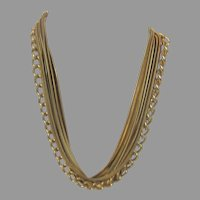 Vintage Goldtone Multi Strand Chain Necklace