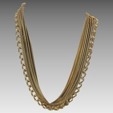 Vintage Goldtone Multi Strand Chain Necklace