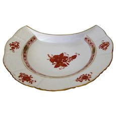 Herend Hand Painted Porcelain Salad Dish in the Apponyi Orange Pattern