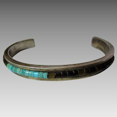 Sterling  Silver Cuff With Tiger's Eye and Turquoise Inlaid