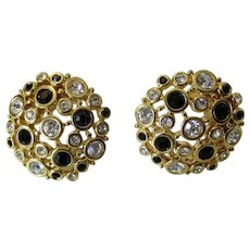 Vintage Swarovski Black and White Crystal Clip On Earrings in Goldtone