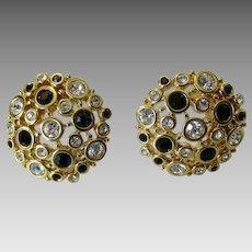 Vintage Swarovski Black and White Crystal Clip On Earrings in Goldtone
