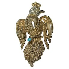 Vintage Mid Century Capri Goldtone Bird Pin With Pave Crystal and Faux Turquoise Accent