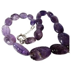 O.O.A.K. Carved Amethyst Gemstone Necklace With Marcasite Enhanced Florite Focal