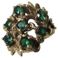 14 Karat Yellow Gold Emerald Ring In Organic Form