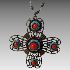 Vintage LizPaiacios SF Maltese Cross In Faux Turquoise and Faux Coral