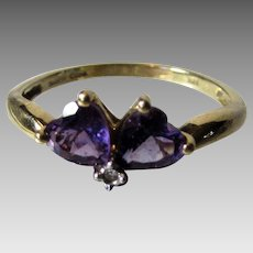 14 Karat Yellow Gold Amethyst Ring With Tiny Diamond Accent
