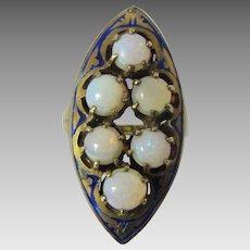 14 Karat Yellow Gold Opal Enamelled Ring
