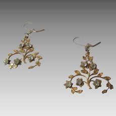 Vintage Goldtone Pierced Earrings With Clear Crystal Accents