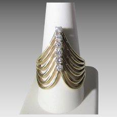 14 Karat Yellow Gold Diamond Ring in Modernist Style