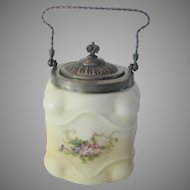 Wavecrest Vintage Biscuit Jar With Metal Mounts and Lid