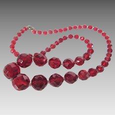 Vintage Carved Crystal Bead Necklace