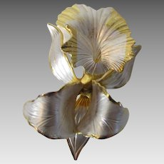 Vintage Cerito Original Dated 1982 Orchid Iris Pin in Goldtone and Silver Enamelling