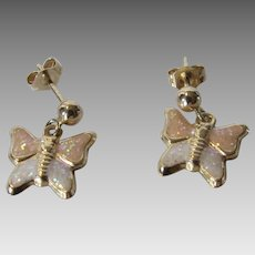 14 Karat Yellow Gold Petite Butterfly Pierced Earrings With Enamelled Finish
